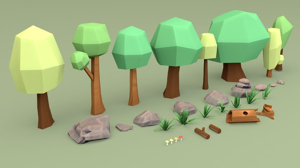 cartoon forest tree 3D