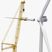 LIEBHERR LR 11000 Heawy Crawler Crane and Wind Turbine Vestas V150-4.2 MW