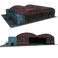 3D abandoned hangar angar model