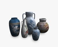 Low poly asian pottery collection
