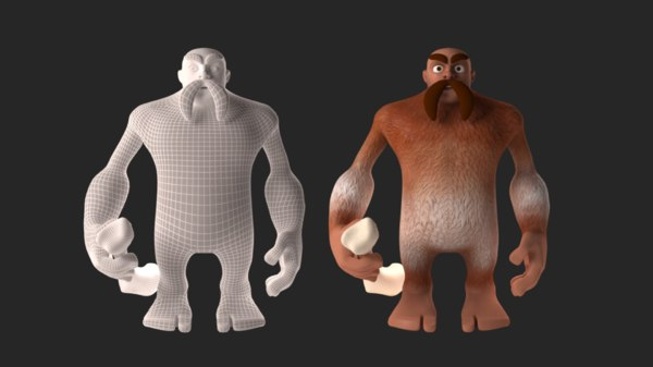 3D model mustached giant character yeti