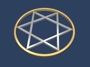 star david circle 3D model