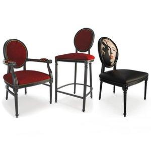 louis xvi baroque seats model