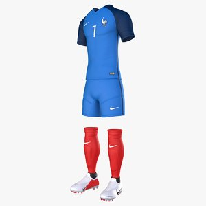 3D model france uniform jersey soccer