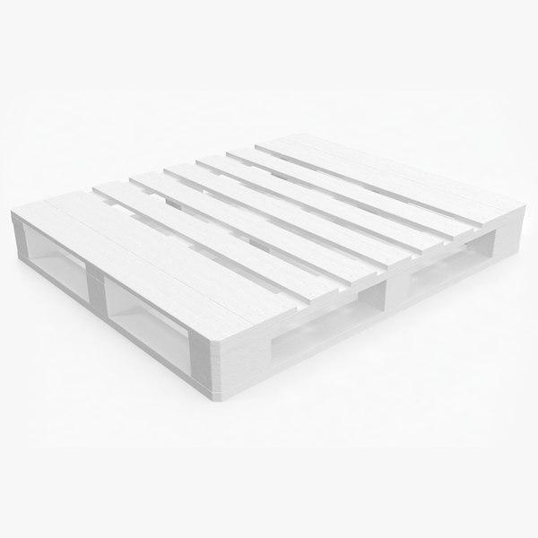 3D wooden pallet eur2 white
