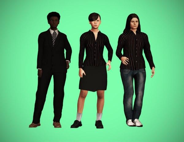 character pack female 3D model