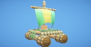 raft sea rowing 3D model
