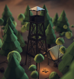 3D model forest campfire