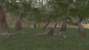 3D low-poly simple foliage pack model