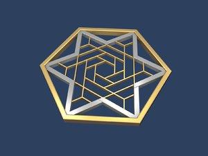 3D model star david hexagon