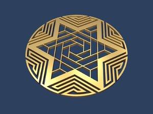 3D star david medallion