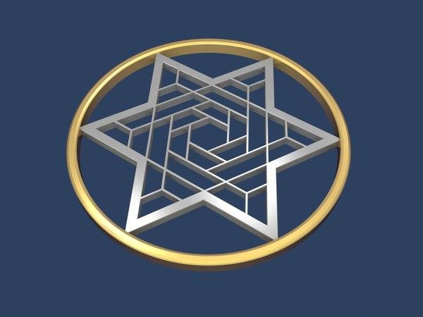 3D star david circle