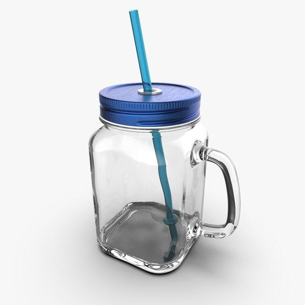 glass jar cup 450ml 3D model