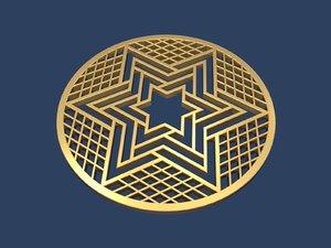 3D model star david medallion