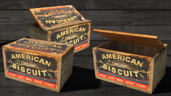 3D antique biscuit box