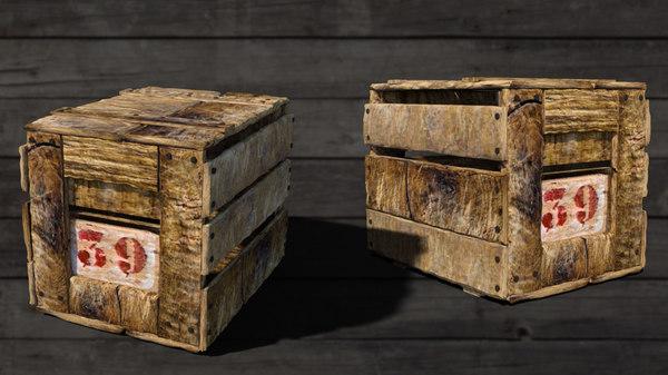 antique wooden crate 3D model