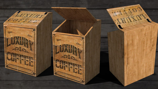antique wooden coffee box 3D model