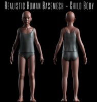 Realistic Basemesh - Child Body -UVMapped - Rigged