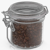coffee beans roasted glass jar 3D model