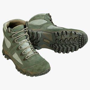 3D realistic boots green model