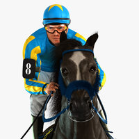 3D horse animations jockey