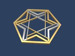 3D star david hexagon model