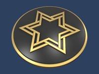 3D star david medallion model