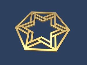 3D star david hexagon
