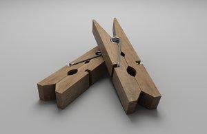 3D wooden clothes peg