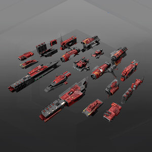 3D model modular ship parts