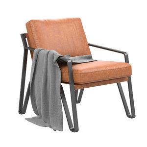 3D owen leather armchair model
