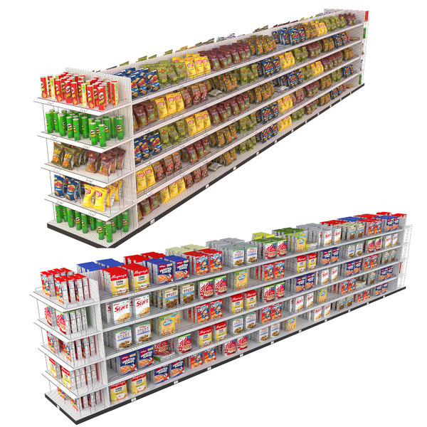 cereals chips shelf 3D model