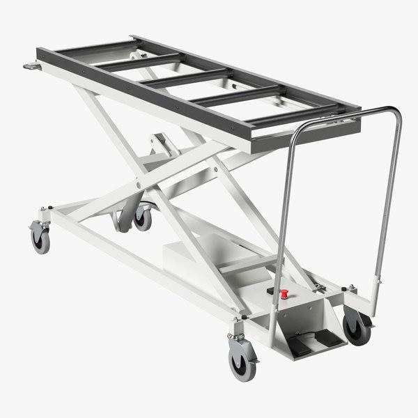 3D model realistic morgue cart