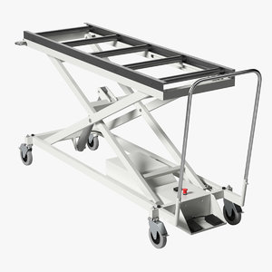 3D model realistic morgue cart