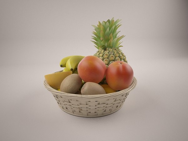 wicker vase fruit 3D