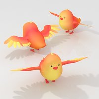 cartoon small bird chick 3D model