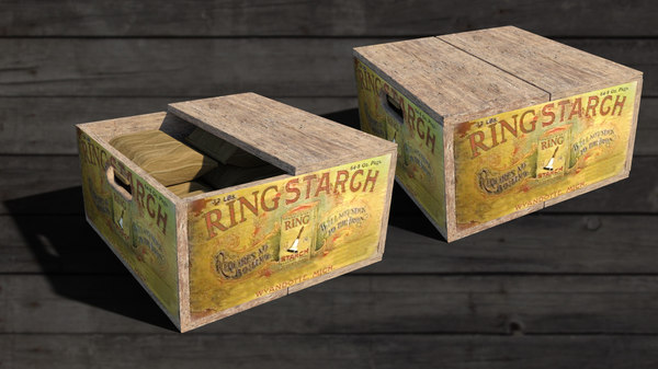 vintage wooden starch box 3D model