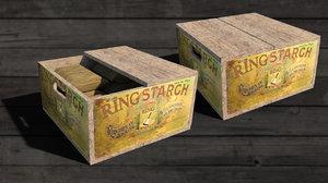 vintage wooden starch box 3D model