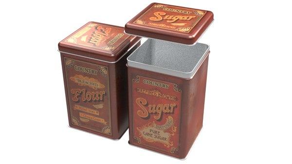 vintage sugar flour 3D model