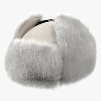 3D model trapper winter hat fur