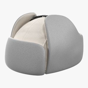 3D trapper winter hat white
