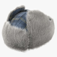 winter trapper hat fur 3D model