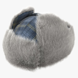 winter trapper hat fur 3D model