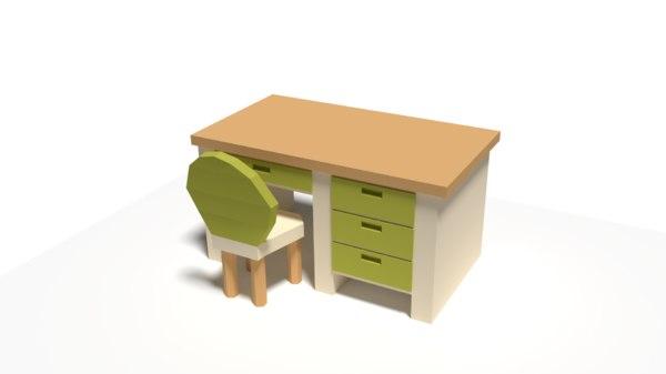 3D desk chair model