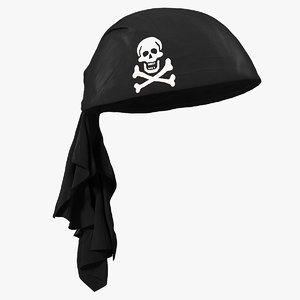 3D black pirate scarf model
