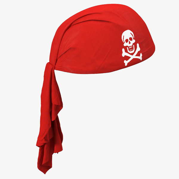 3D red pirate scarf