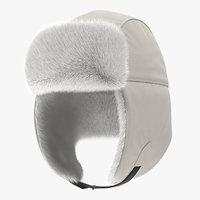 trapper hat white fur 3D