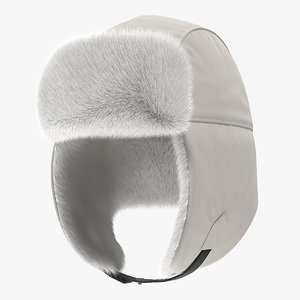 trapper hat white fur 3D