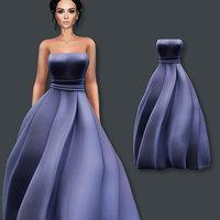 3D model gown blue