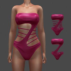 coral swimsuit 3D model
